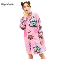 Graffiti Shirt Dress 2017 New Women Spring Pink Cartoon Print Straight Loose Streetwear Long Sleeve Blouse