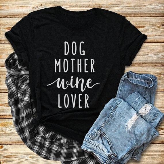 Perro madre vino amante camiseta manga corta Camiseta divertido citar de perro camiseta perro mujeres amantes elegante gráfico Tops ropa de perro camisas
