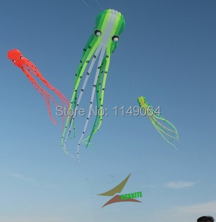free shipping high quality15m large soft kite octopus kite toys with handle line outdoor flying hcxkite new design resin kevlar