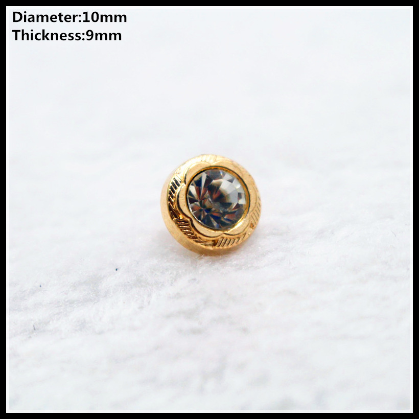 Glorious Free Shipping 10pcs 10mm Golden With Drill Metal Buttons Brand Button Garment Accessories Diy Material/034 Apparel Sewing & Fabric