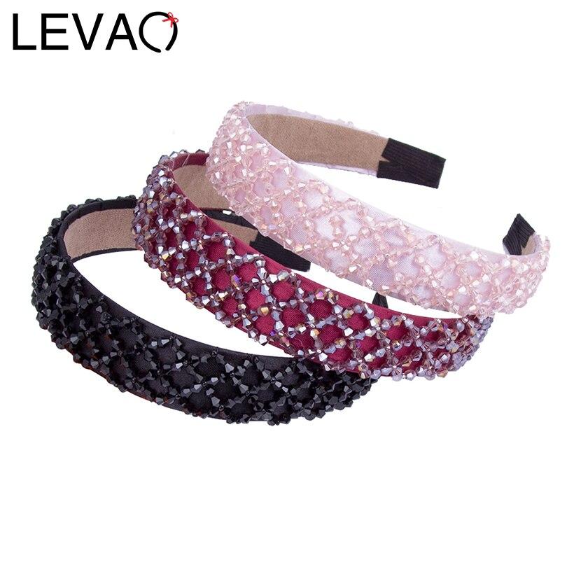 LEVAO 3 CM Wise Beaded Crystal Hairband for Women Weave Beads Hair Bands Hoop   Headwear   Bezel Girls Headband Hair Ornament