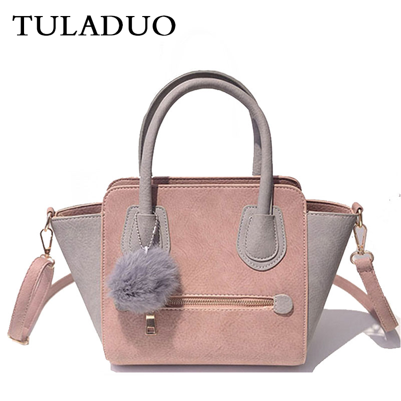 Tuladuo Women Leather Trapeze Handbag Famous Brand Messenger Bag Sac a Main Femme Smiley Shoulder Bag