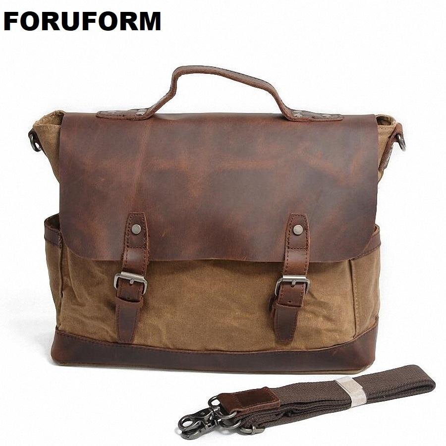 ForUForM Retro Men Briefcase Business Shoulder Bag Waterproof Canvas Messenger Bag Man Handbag Tote Casual Travel Bag LI-1929 casual canvas satchel men sling bag