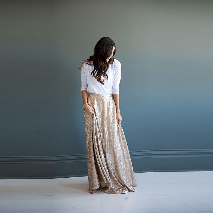 Fashion Champagne Gold Sequin Maxi Women Skirt Zipper Waist Custom Made A  line Floor Length Chic Causal Sequins Long Skirt Saia-in Skirts from Women s  ... 3d796d9199ef