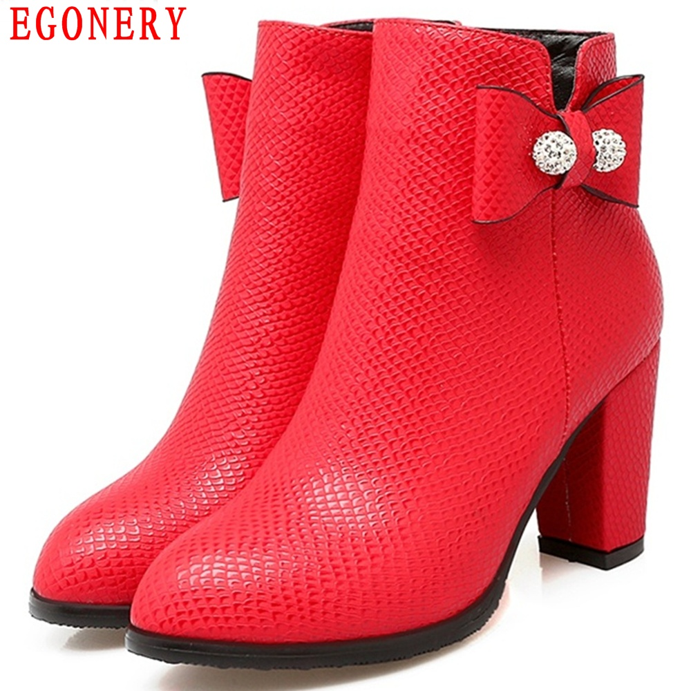 EGONERY New Sweet Bowtie Zipper Faux Leather Square High Heel Spring Autumn Ankle Boots Womens Fashion Shoes Toe Size 47 egonery quality pointed toe ankle thick high heels womens boots spring autumn suede nubuck zipper ladies shoes plus size
