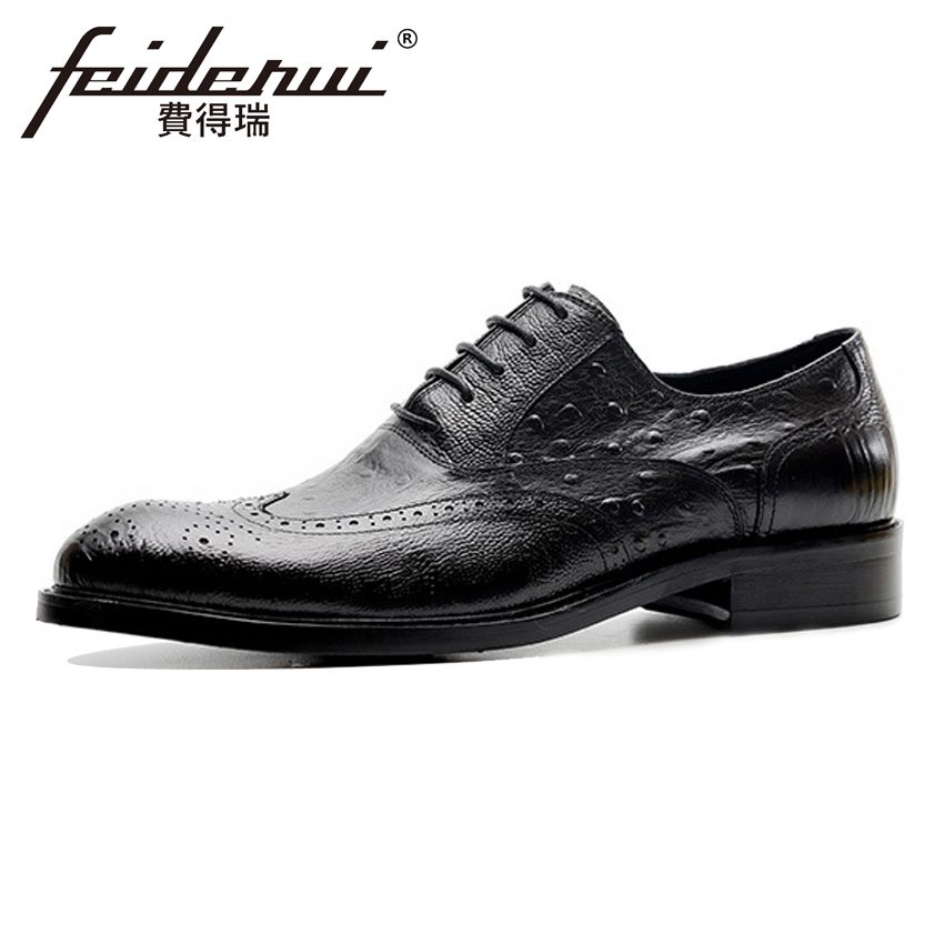 Luxury Formal Dress Genuine Leather Mens Ostrich Pattern Footwear Round Toe Derby Handma ...