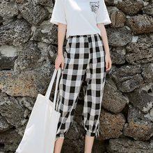 0268037870 2019 de moda de verano de ancho de la pierna Pantalones mujeres de cintura  alta de