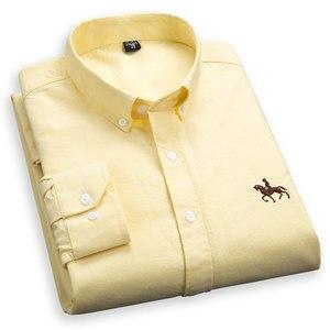 Image 1 - בתוספת גודל 4XL 100% כותנה גברים של אוקספורד מקרית חולצת כפתורים ארוך שרוולים מוצק איש עסקים באיכות גבוהה חכם מזדמן חולצה
