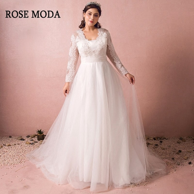 US $136.95 45% OFF|Rose Moda Long Sleeves Plus Size Wedding Dress 2019  Vintage Plus Size Wedding Gowns with Train Real Photos-in Wedding Dresses  from ...