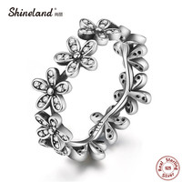 Shineland 2017 New Arrival 100% 925 Sterling Silver AAA Zirconia Popular Flower Finger Ring Vintage Fashion Wedding Jewelry