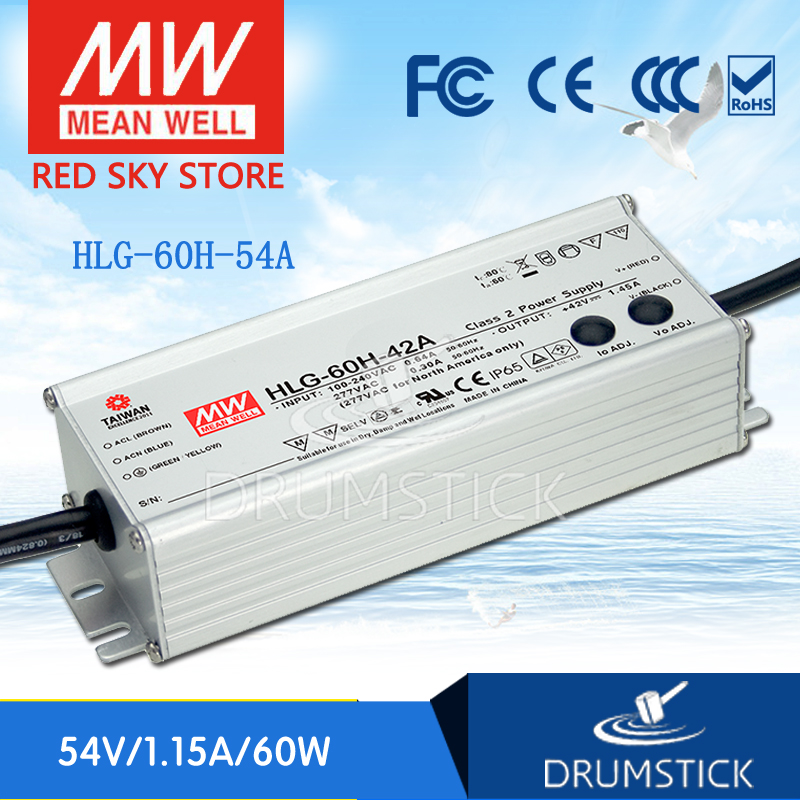 Best-selling MEAN WELL original HLG-60H-54A 54V 1.15A meanwell HLG-60H 62.1W Single Output LED Driver Power Supply A type все цены