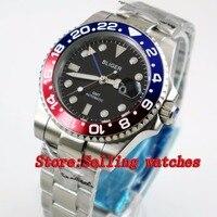 40mm Bliger zwarte Wijzerplaat blauw & rood bezel GMT Lichtgevende Handen Saffierglas Automatische Beweging mannen Mechanische horloges