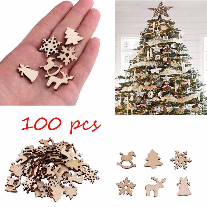 100 Buah Dekorasi Natal Kayu Pohon Natal Salju Rusa Trojan Kayu DIY Hiasan Pohon Natal Menggantung F