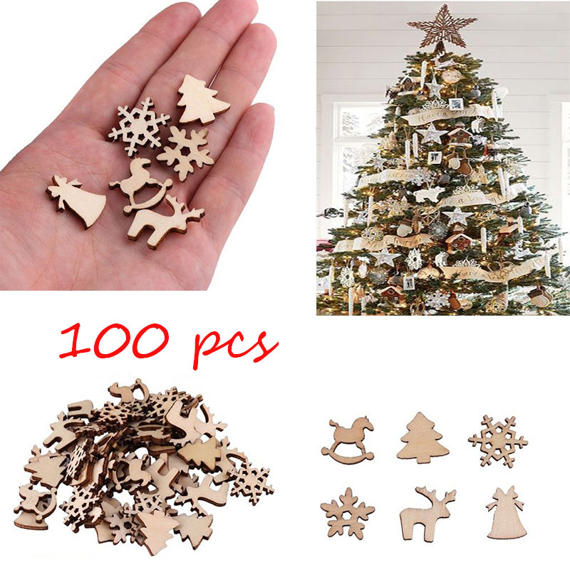 100pcs Christmas Decoration Wooden Snowflake Christmas Tree Deer Trojan  Natural Wooden DIY Christmas Tree Hanging Ornaments F