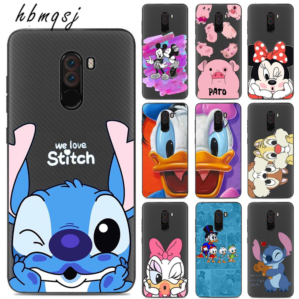 For <font><b>xiaomi</b></font> f1 pocophone f1 case silicone soft <font><b>funda</b></font> cartoon stich <font><b>mickey</b></font> cute original coque for pocphone f1 phone back cover image
