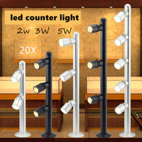 20pcs 2w 3w 5w Jewelry counter LED lamps Spotlight gold jewelry watches glasses display cabinet LED spotlight Ac85 265v