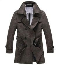 Плюс размер М-5XL 6XL 2014 пальто Долгая зима шерсть пальто мужчины марка бизнес двубортный толстые теплые Мужские пальто D2239