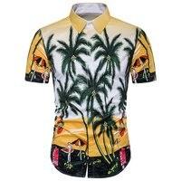 Hawaiian Top 2017 Summer Mens Brand Clothing Short Sleeve Button Down Casual Shirts Men Beach Hawii