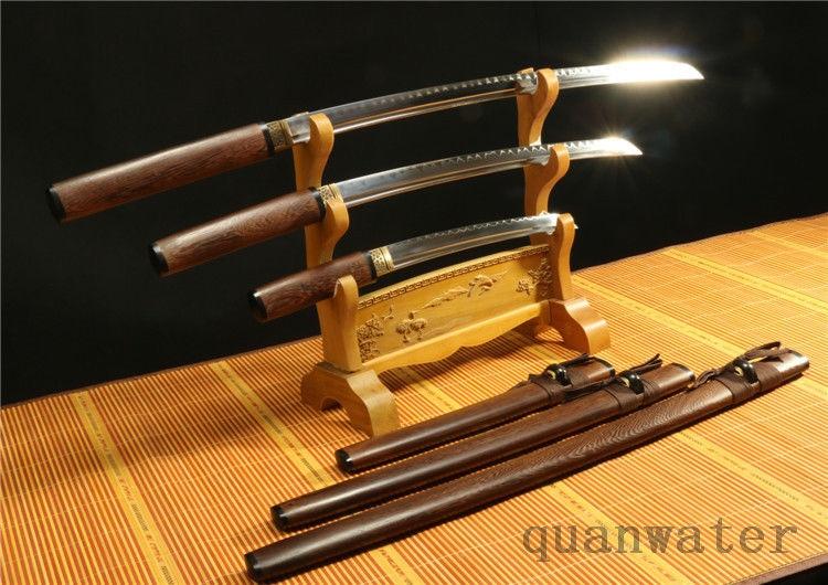 1095 VYSOKÁ UHLÍKOVÁ OCELOVÁ TEMPEROVANÁ JAPONSKÁ SWORDS SET (KATANA, WALIZASHI, TANTO)