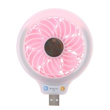 1Pc New USB Gadgets 5V Portable Mini 4 LED Light Desk USB Fan Quiet Operation For PC Laptop Notebook Blue/Pink High Quality C26
