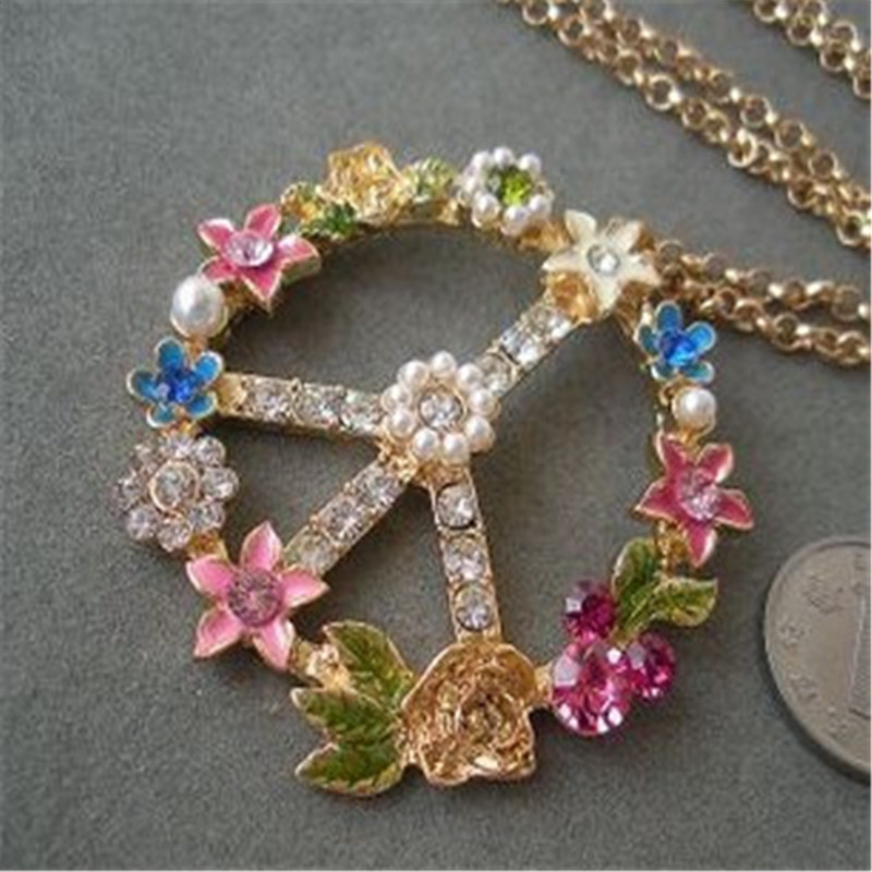 XQ Free shipping Popular fashionable woman alloy imitation pearl flower pendant necklace sweater chain