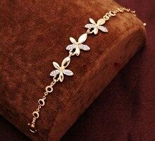 Gold Plated Bracelets Austrian Crystal Flower Jewellery