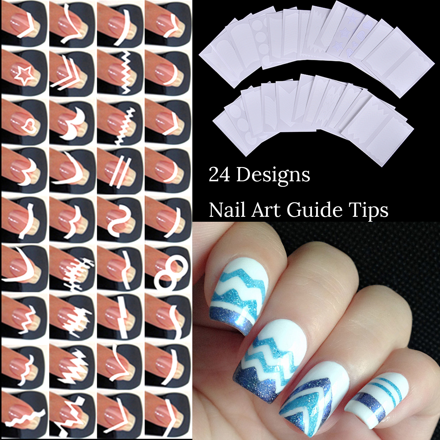 24 Designs Nail Art Guide Tips From Fringe Guides DIY Sticker 3D Manicure Polish Hollow Stencils French Nails 24 styles french manicure diy 3d nail art tips guides stickers stencil strip nail hollow stickers nail art