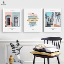 The Landscape Triptych Of The Blue Pink Window Beautiful Fashion Alley Concise Decorative Canvas Posters Painting For Room Decor the holver alley crew page 4