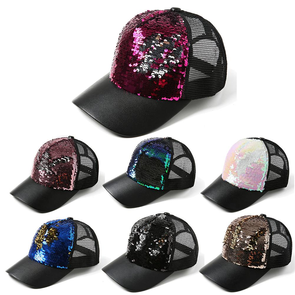 2018 NEW Sequins Paillette Bling Shinning Mesh   Baseball     Cap   Striking Pretty Adjustable Women Man Hats For Party Club Gathering