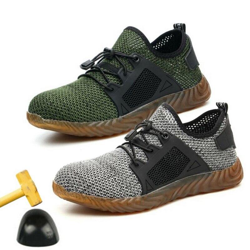 Homens Sapatos de Seguro de trabalho Biqueira De Aço Tampas de Malha de Segurança Anti-esmagamento Anti-perfuração Indestrutível Luz Respirável Sapatos De Tênis