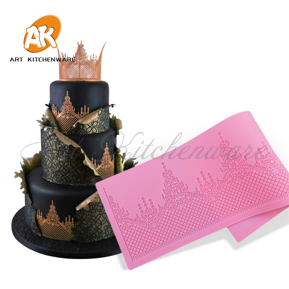 Crown Cake Lace Mat Silicone Mold Fondant Sugar Lace Mat Silicone Cake Mold Moulds Fondant Cake Decorating Tools Bakery Stencil in Cake Molds from Home Garden