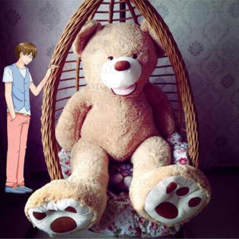 อเมริกาหมีขนาดใหญ่บิ๊ก 100-260 เซนติเมตร 20 กิโลกรัมเต็มยัดไส้สัตว์ตุ๊กตาหมีปกตุ๊กตานุ่มของเล่นตุ๊กตาเด็กของขวัญเด็ก