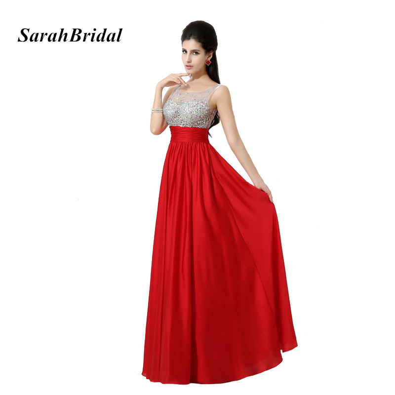 New Arrival Elegant A Line Red Long Formal   Prom     Dresses   With Heavy Crystals Evening Party Gowns For Fashion Women In Stock