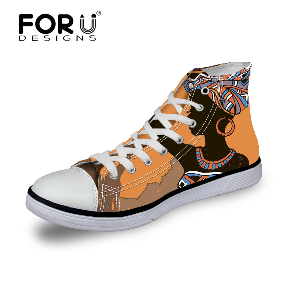 FORUDESIGNS 2018 Fashion African Girl Women Vulcanized Shoes Canvas Shoe Lace-up Casual High Top Ladies Shoes for Woman Sneakers