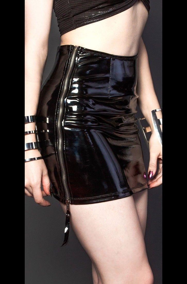 Sexy Wet Look PVC Pencil Mini Skirt Vinyl Latex Zipper Gothic Bodycon Nightclube Clubwear Pole Dance Skirt