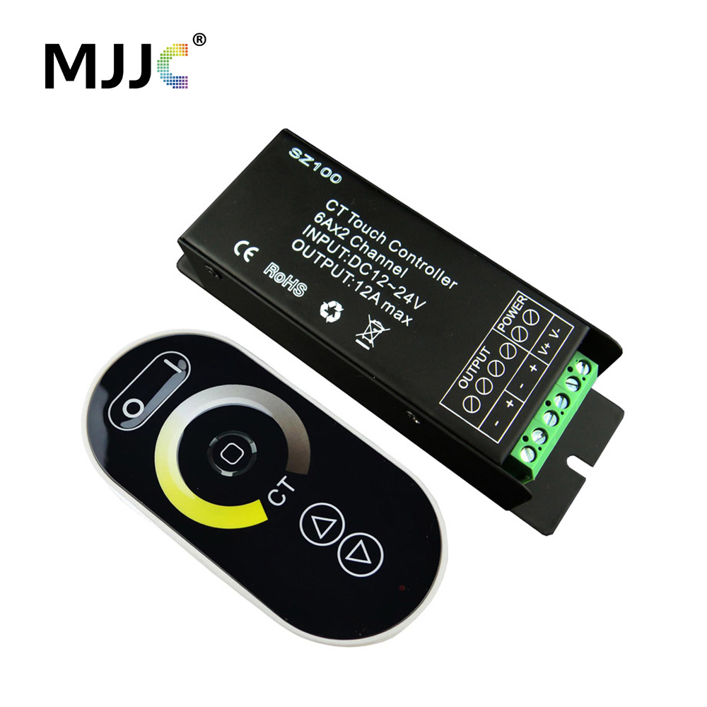 CCT LED Controller 12-24V DC RF Color Temperature Adjustable Dimmer Controller for Dual Color Warm+Cool White LED Strip Light цена