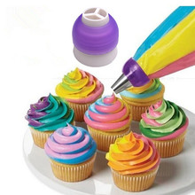 Top Sale 1pcs 3 Holes Cake Decoration Converter Mix Colors Icing Piping Nozzle For Cupcake