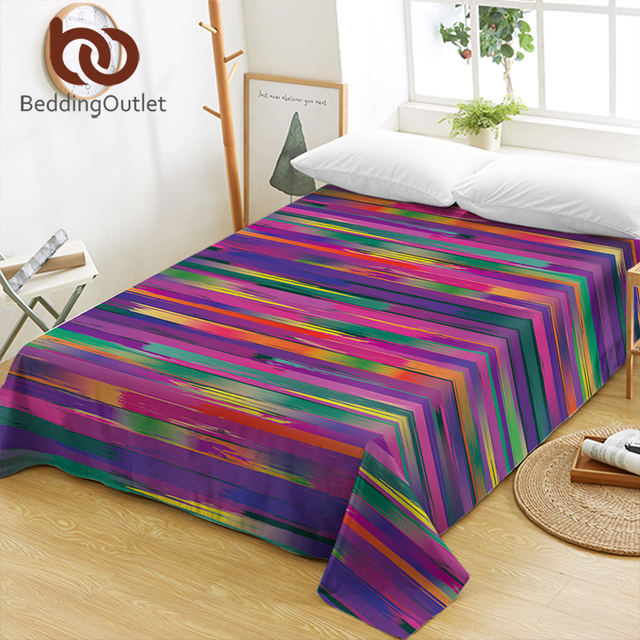 BeddingOutlet Colorful Bed Sheets Rainbow Color Flat Sheet Striped Printed  Bed Linen Purple Orange Green Bedspreads