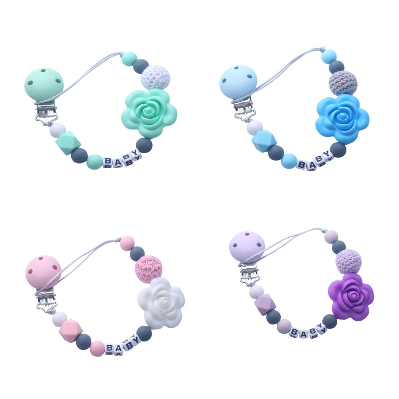 Personalised Name Silicone Beads Pacifier Holder Clip Chain Flower Beads Teething Clip Chain Dummy Clips 5 Colors