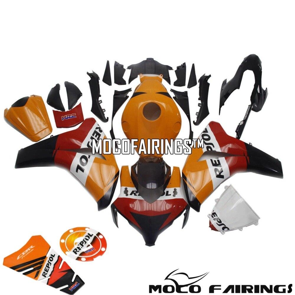 Бесплатная доставка мотоцикла ABS Пластик литья под давлением обтекателя Kit для Honda CBR1000RR 08 09 10 11 REPSOL наклейка кузова 2008 2011