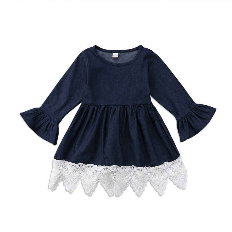 Kids Dress For Girls 1-7T Baby Denim Lace Ruffles Dress Girl Long Sleeve Princess Costume Party
