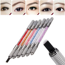 Manual Double Heads Eyebrow Tattoo Pen Permanent Microblading Makeup Tattooing Machine For Beauty 3D Embroidered Eyebrow