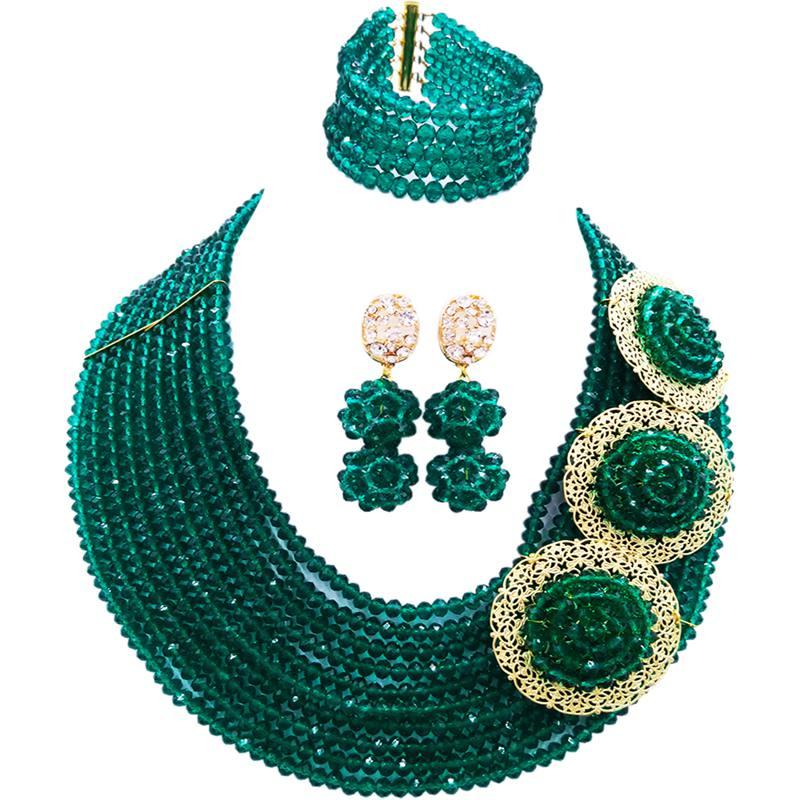 Largement populaire armée vert cristal collier boucles d'oreilles Bracelet ensembles pour les femmes 10C-C3PH-23