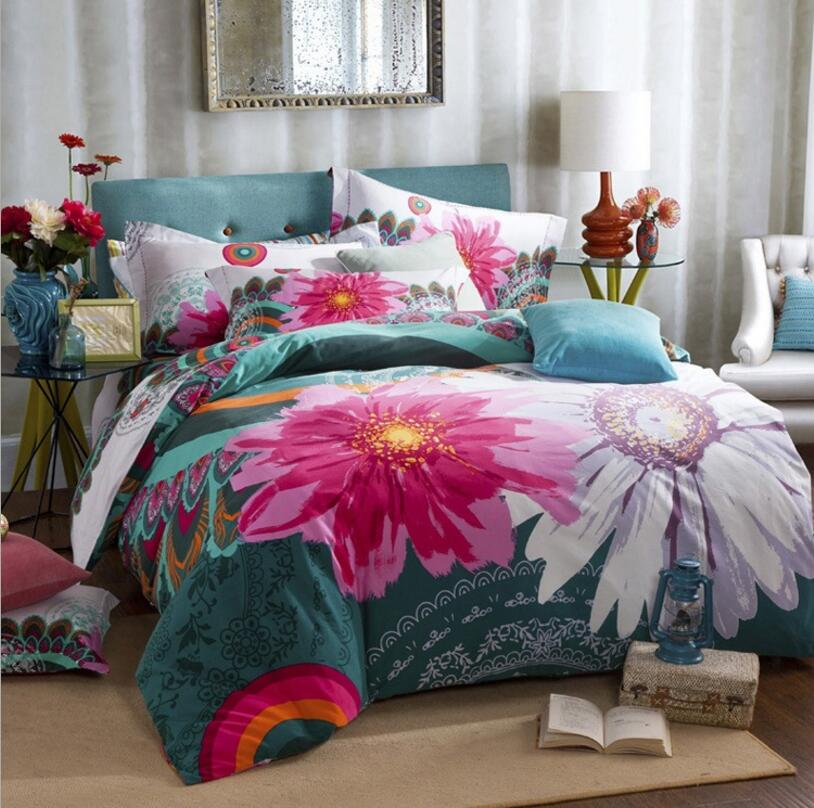 bohemian bedding set king double size 4pcs sanded cotton flower printed duvet cover bed sheet. Black Bedroom Furniture Sets. Home Design Ideas