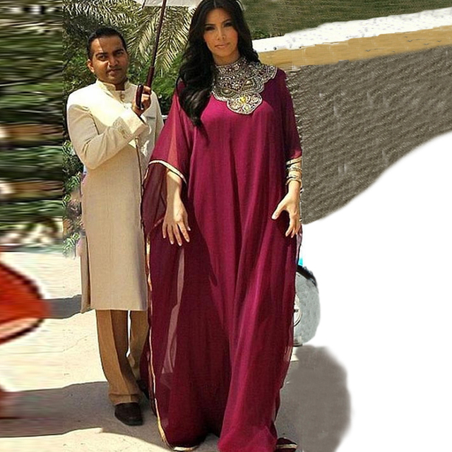 2015 New Celebrity Kim Kardashian Dress Burgundy Chiffon Dubai Kaftan Maxi Arabic Dress Moroccan Kaftan Abaya Evening Dresses
