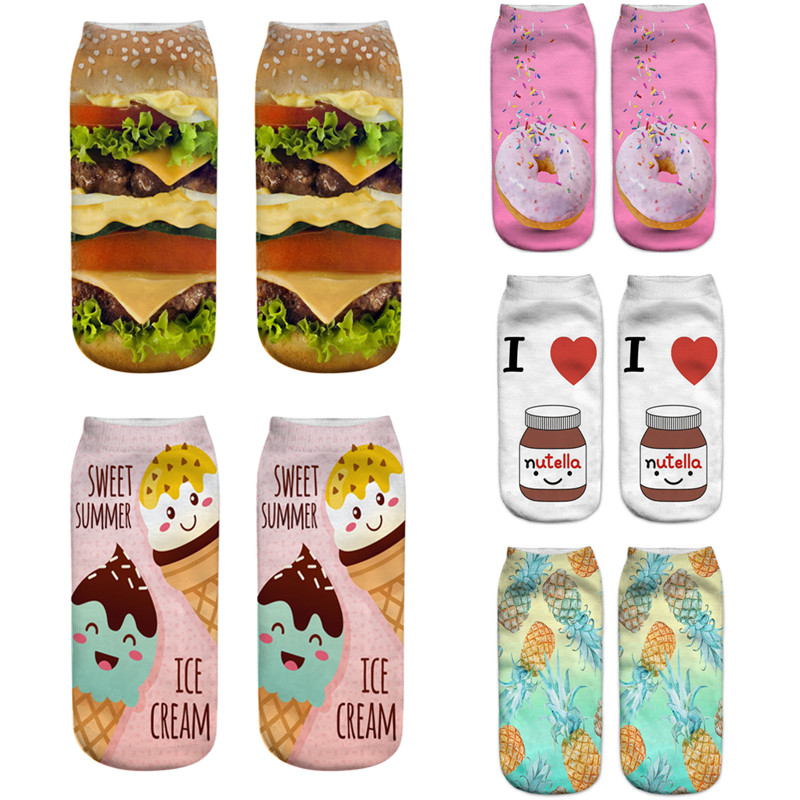 2019 New Food And Fruit Print 3D Socks Women Cute Ankle Socks Fashion Sox Boat Socks Female Mujer Funny Happy Calcetines