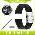 20mm 22mm 24mm Faixa De Relógio de Borracha de Silicone + Ferramenta para Segurança Buckle Strap Pulseira De Pulso de Aço Inoxidável Das Mulheres Dos Homens Diesel preto
