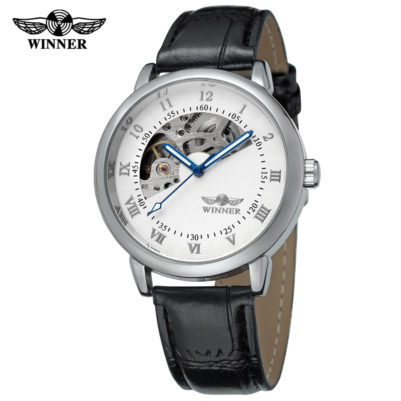 couro relógio mecânico masculino