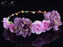 CXADDITIONS Rose Carnations Peony Flower Halo Bridal Floral Crown Hair Band Wreath Mint Head Wreath Wedding Headpiece Bridesmaid
