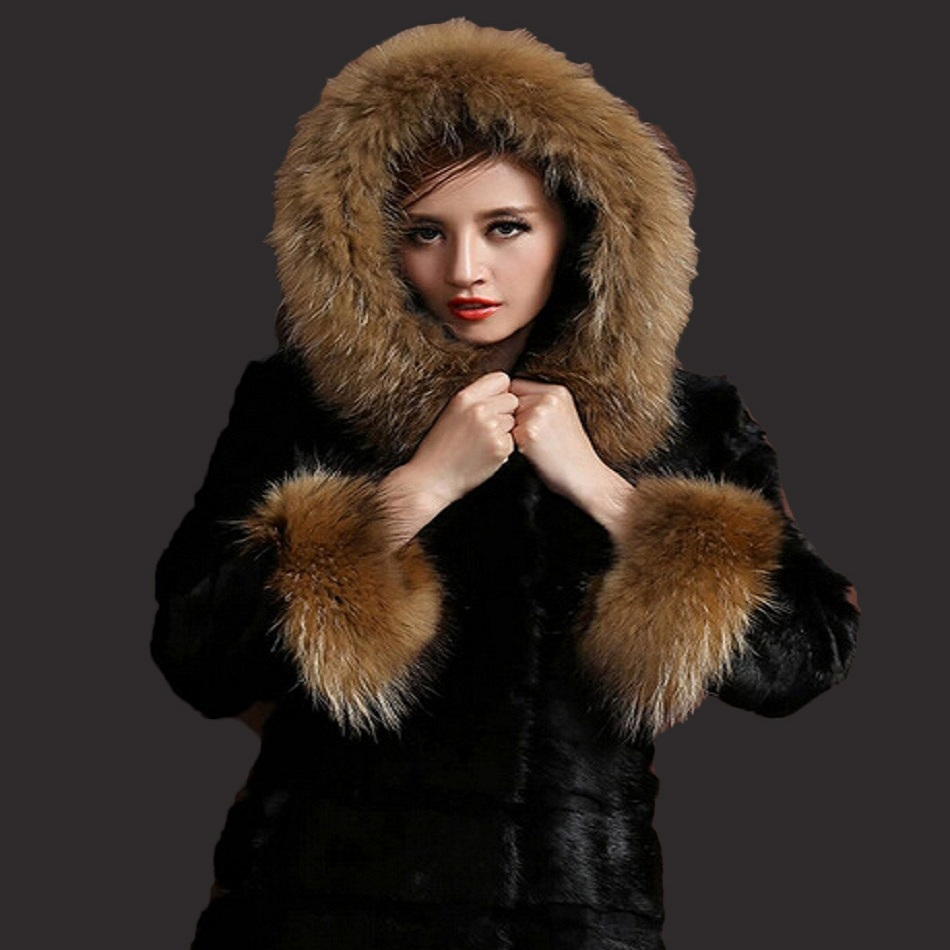New fur coat 2017 Nightclub fashion man-made sleeves with a hat hat raccoon big faux fur coat jacket size womans faux fur coat